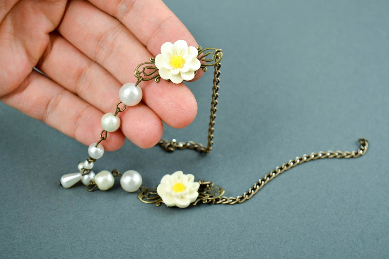 Handmade Polymer Clay Schmuck Armband mit Blumen Frauen Armband zart modisch foto 6