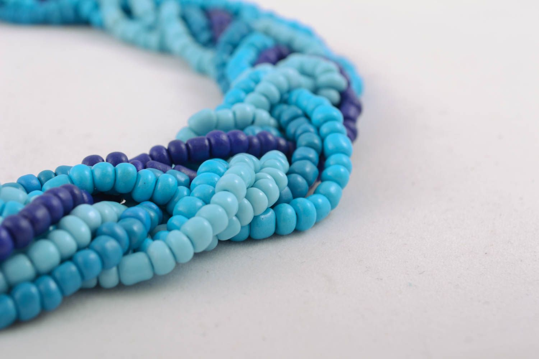 Blue beaded necklace photo 2