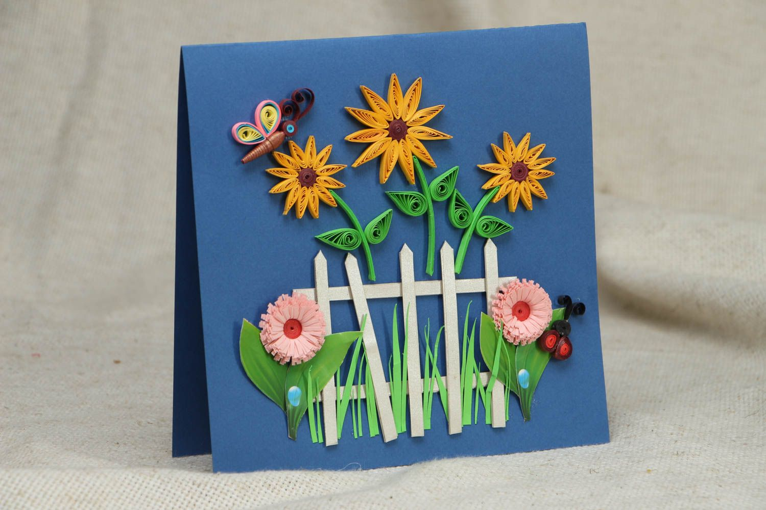 Handmade quilling greeting card with flowers photo 1