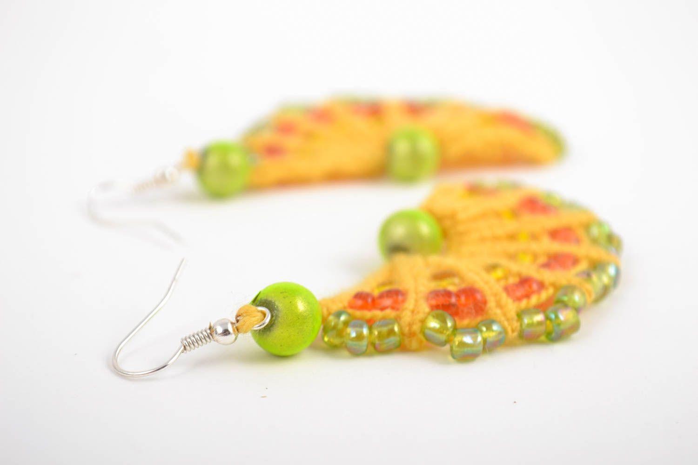 Handmade macrame earrings with beaded charms designer stylish summer accessory  photo 3