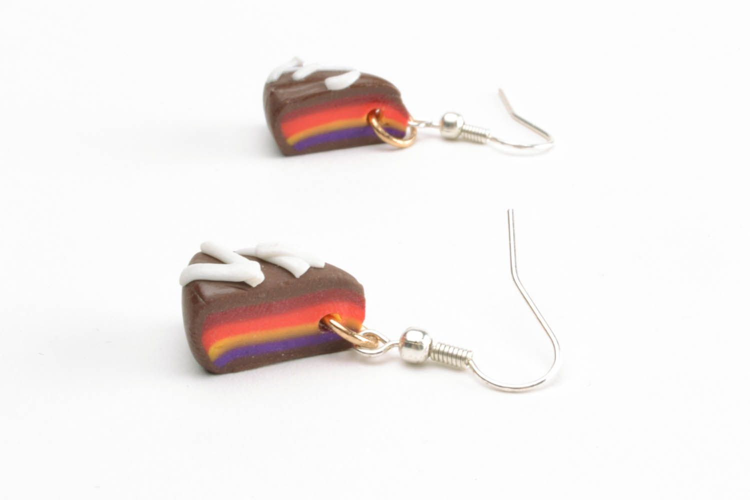 Polymer clay earrings in the shape of cakes photo 3