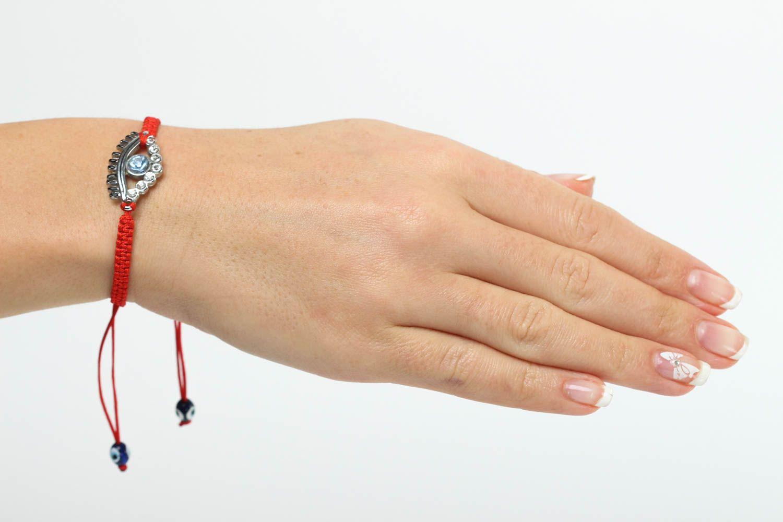 Bracelet en fils Bijou fait main rouge tressé design fin Accessoire femme photo 5