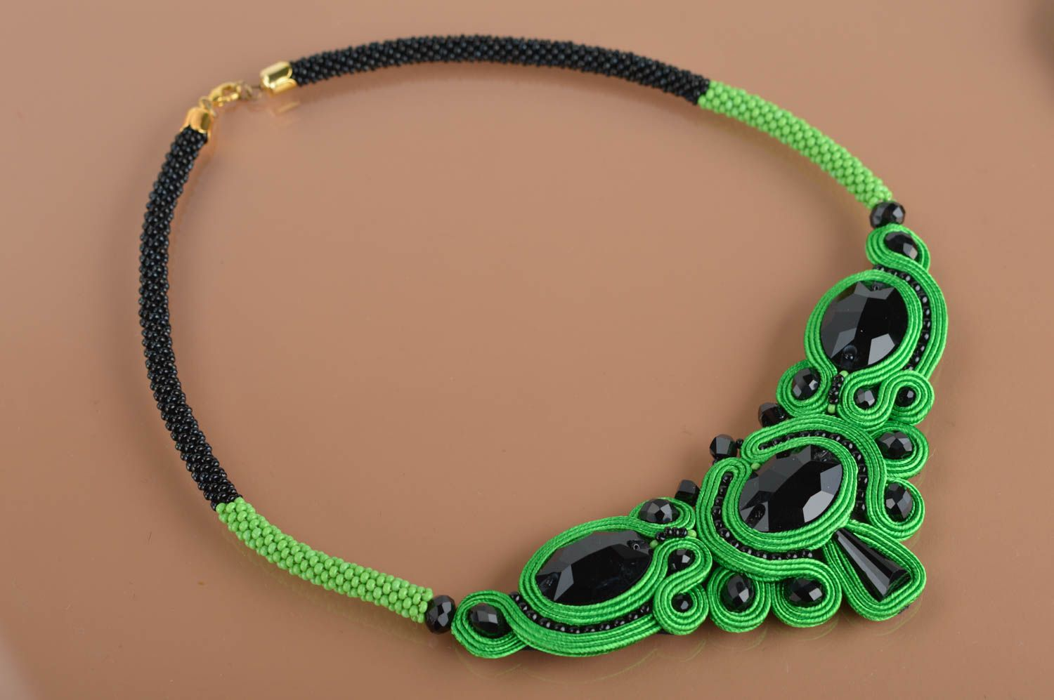 Handmade massive evening green and black soutache necklace with Czech beads photo 2