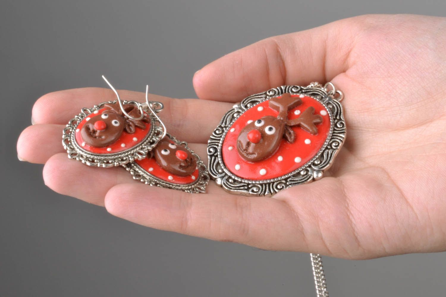 Polymer clay jewelry set Deers photo 1