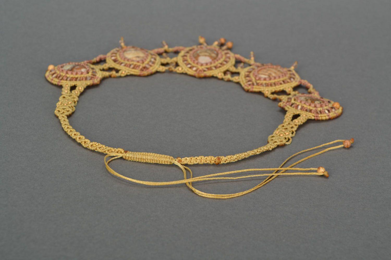 Massive woven necklace with jasper photo 5