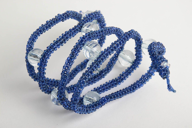 Handmade designer multi row bead woven wrist bracelet Blue Snake for women photo 4