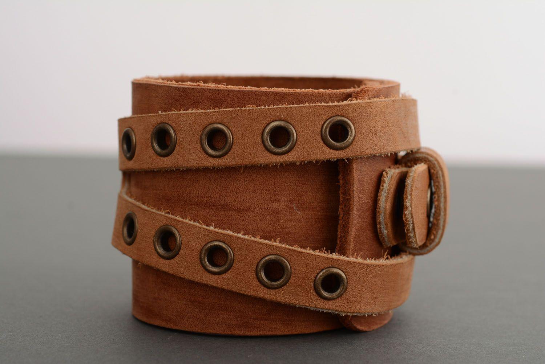 Кожаный браслет-напульсник фото 2