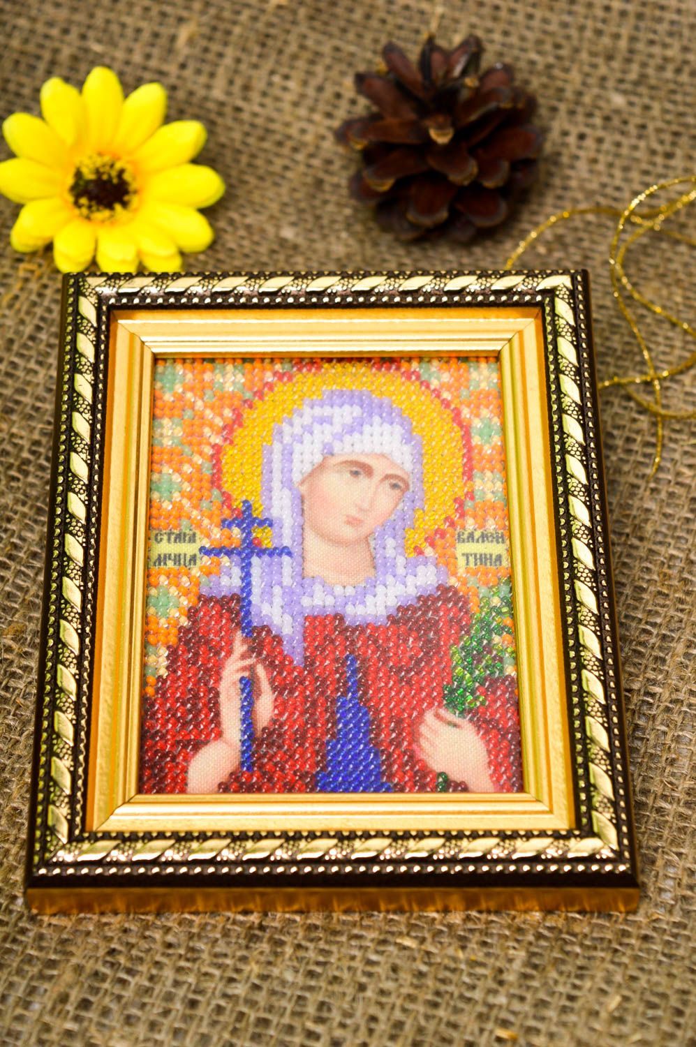 Handmade beautiful beaded icon stylish embroidered icon small home amulet photo 1