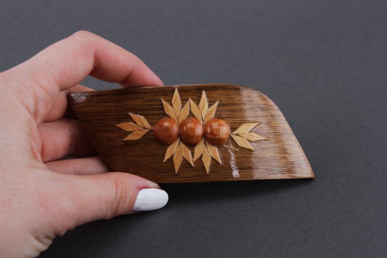 Wooden head flowers accessories hair clip Berries photo 3