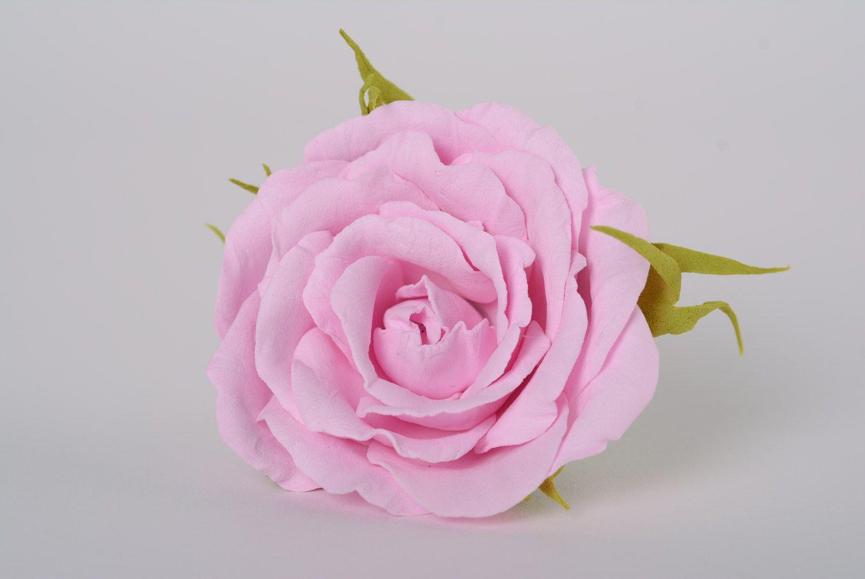 Beautiful women's handmade plastic suede flower hairpin Gentle rose photo 1
