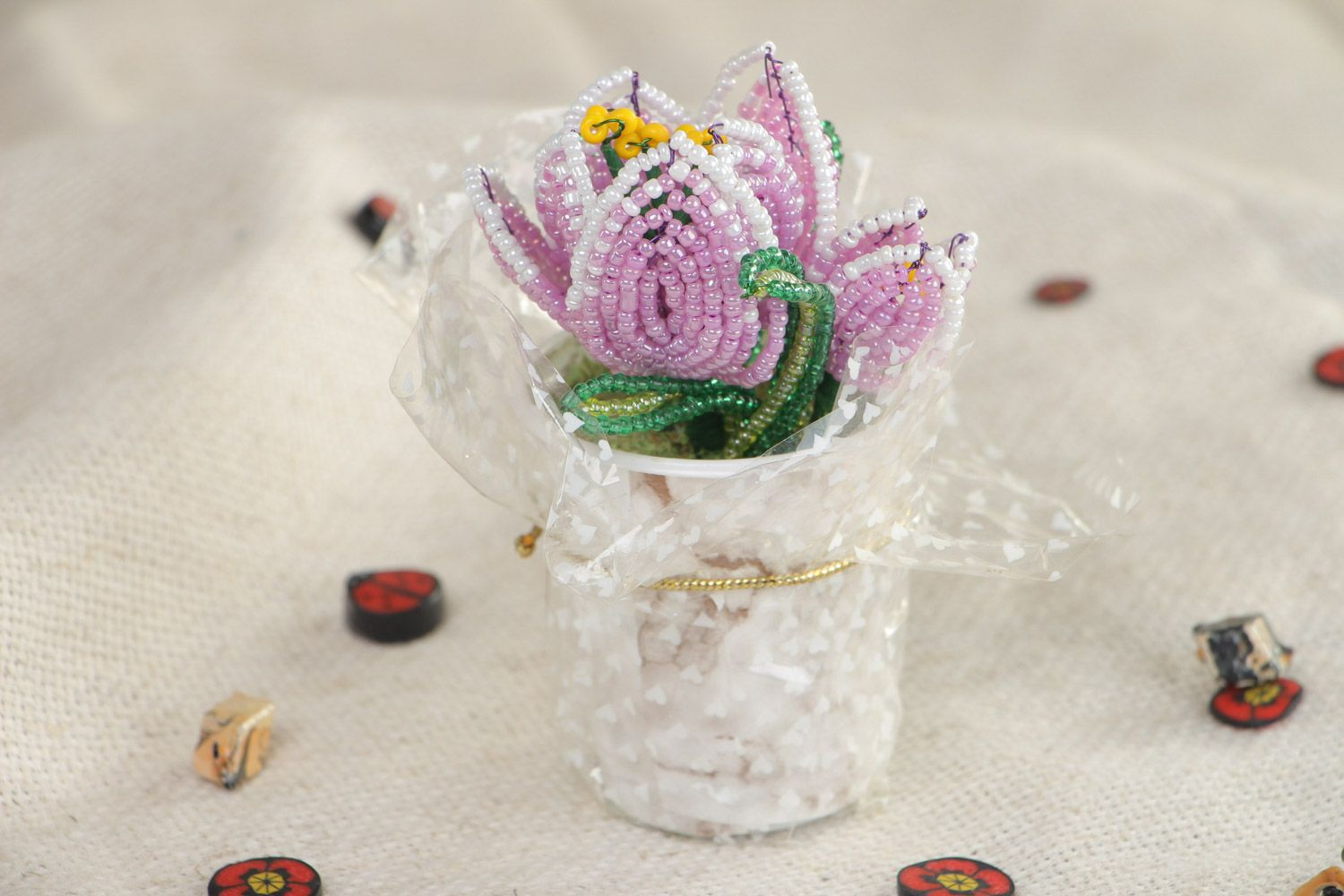 Beautiful artificial flowers hand woven of Chinese beads in the shape of violet crocuses  photo 1