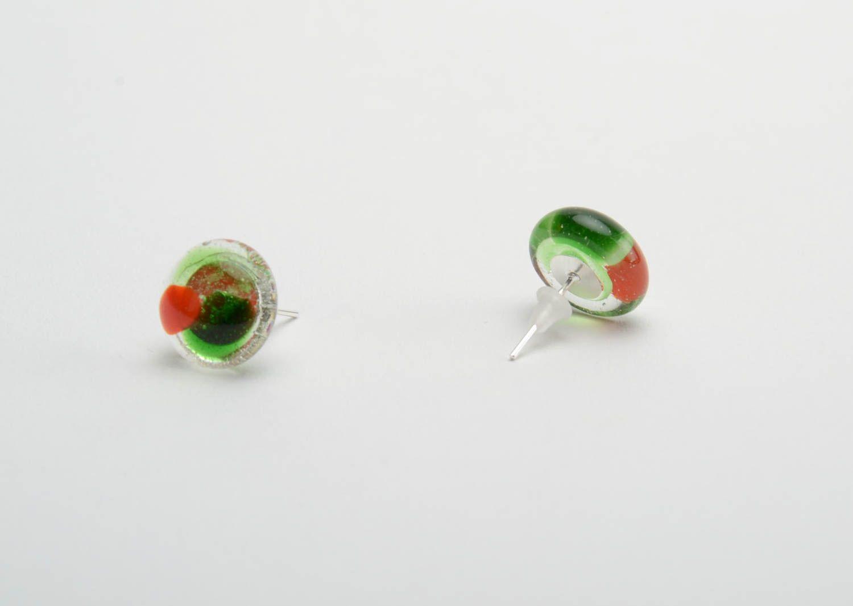 Beautiful stud earrings glass fusing technique handmade designer accessory photo 3