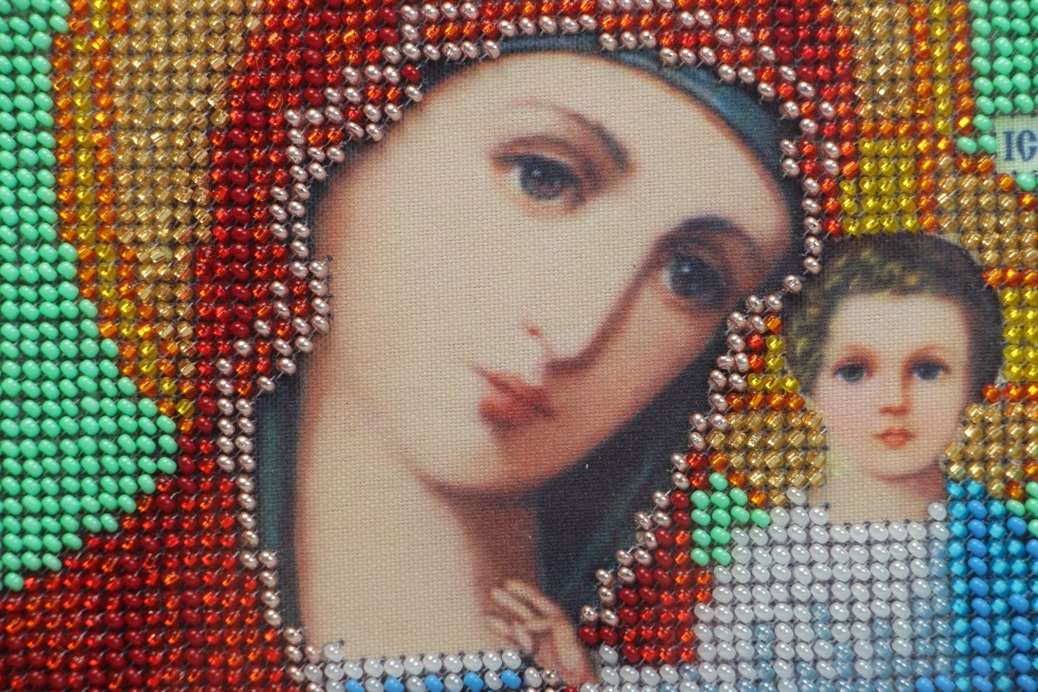 Handmade bead embroidered icon of the Kazan Mother of God present for believer photo 2