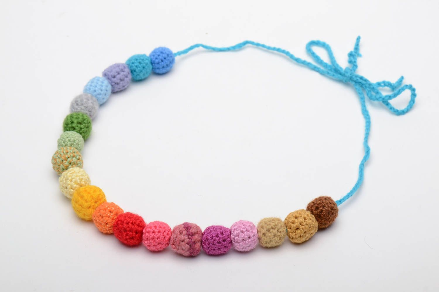 Multi-colored hand crocheted bead necklace photo 2