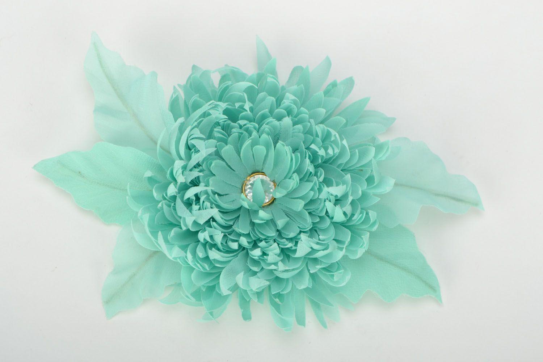 Handmade chiffon brooch Turquoise Aster photo 1