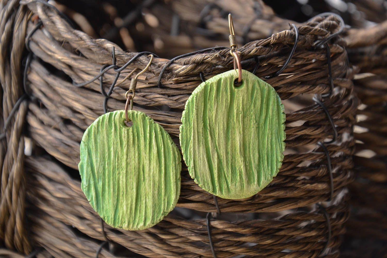 Homemade round clay earrings photo 1