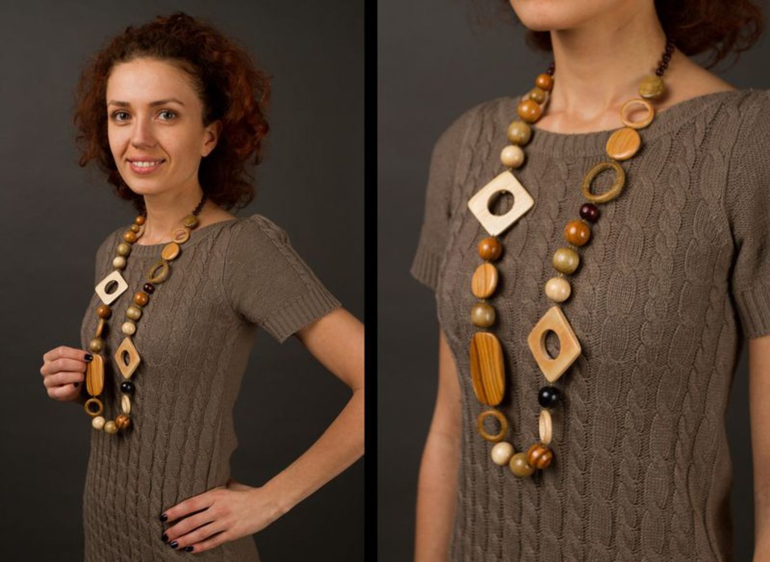 Massive wooden beaded necklace photo 2
