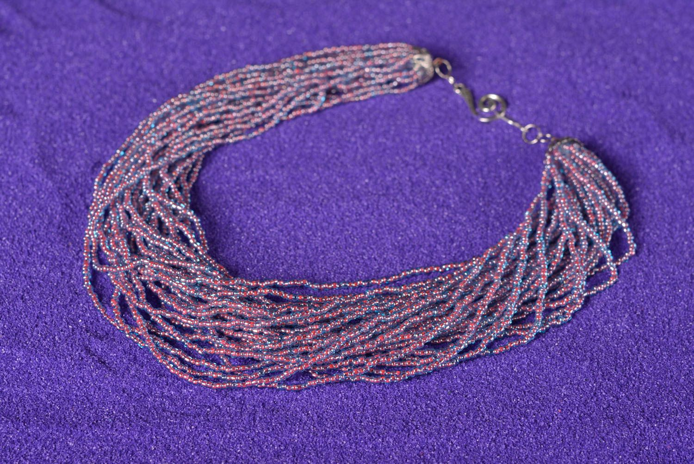 Колье из бисера украшение ручной работы многорядное ожерелье из бисера фото 5