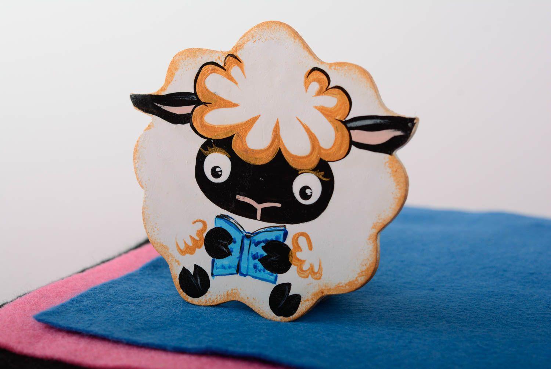 Handmade decorative painted plywood fridge magnet Lamb with book kitchen decor photo 4