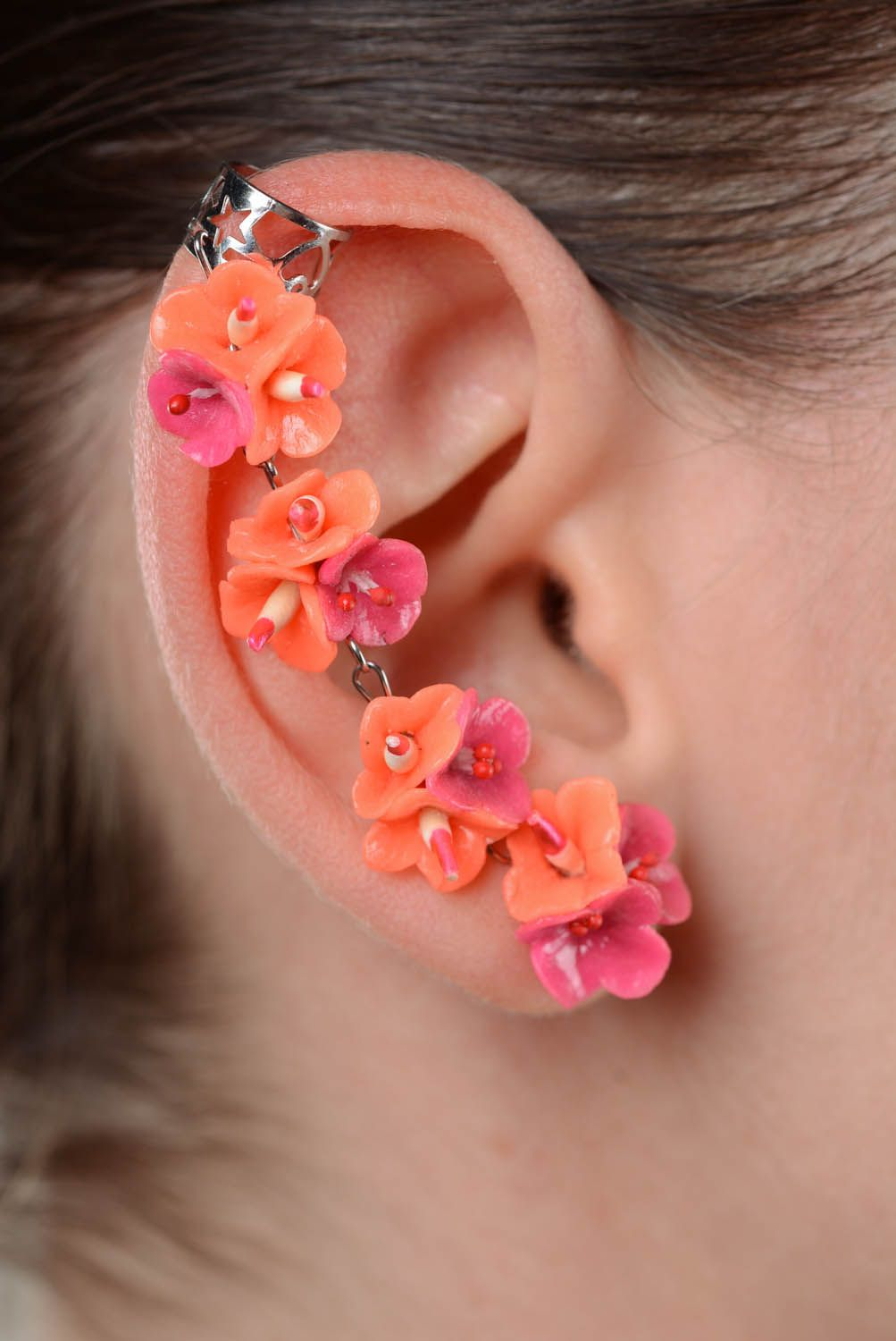 Cuff earrings Coral Colors photo 3
