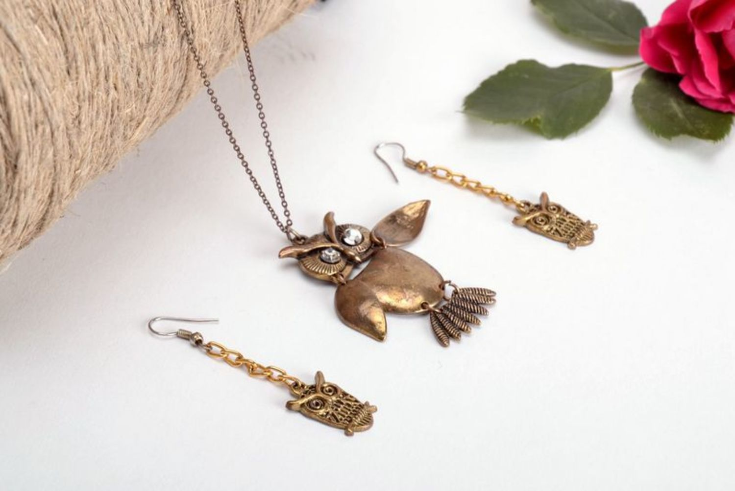 "Metal jewelry set ""Owl""-3"