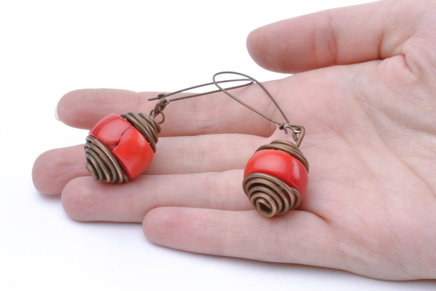 Copper earrings with coral  photo 2