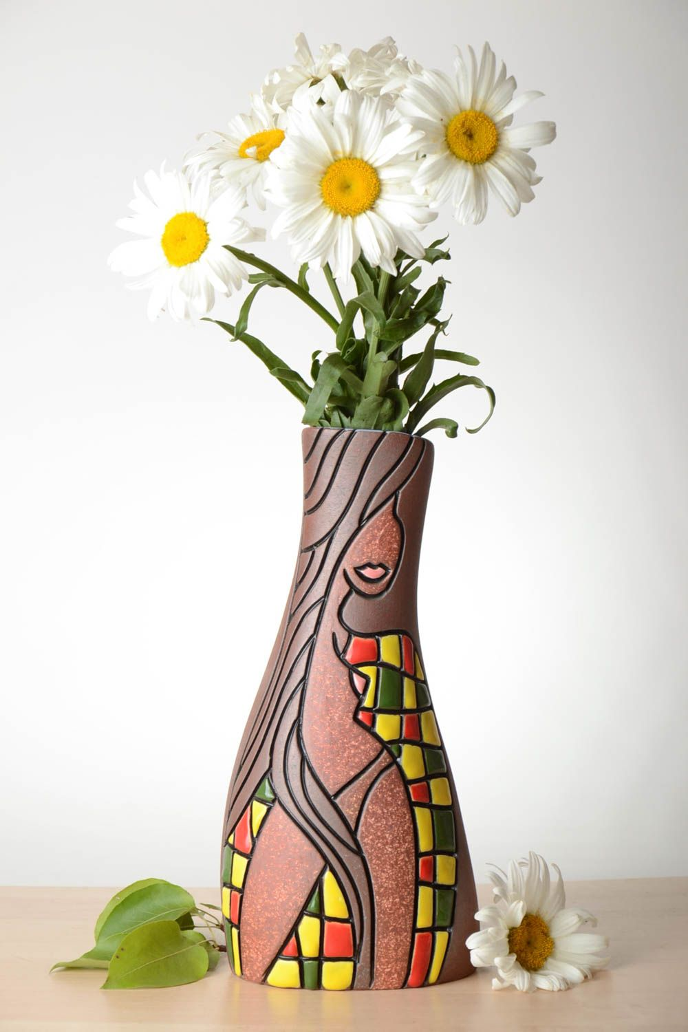 vases Unusual handmade ceramic vase 1.7 l decorative clay vase flower vase design - MADEheart. & Madeheart.com