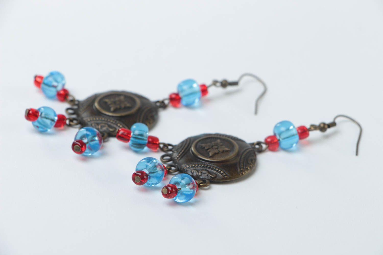 Handmade long metal earrings unusual designer earrings stylish accessory photo 3