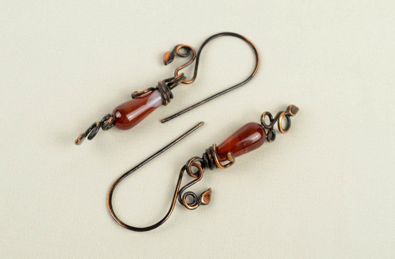 Handmade earrings long earrings metal jewelry gift ideas unusual accessory photo 5