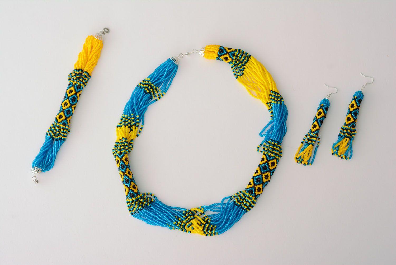 Blau gelbes Schmuckset aus Glasperlen Collier und Ohrringe foto 3