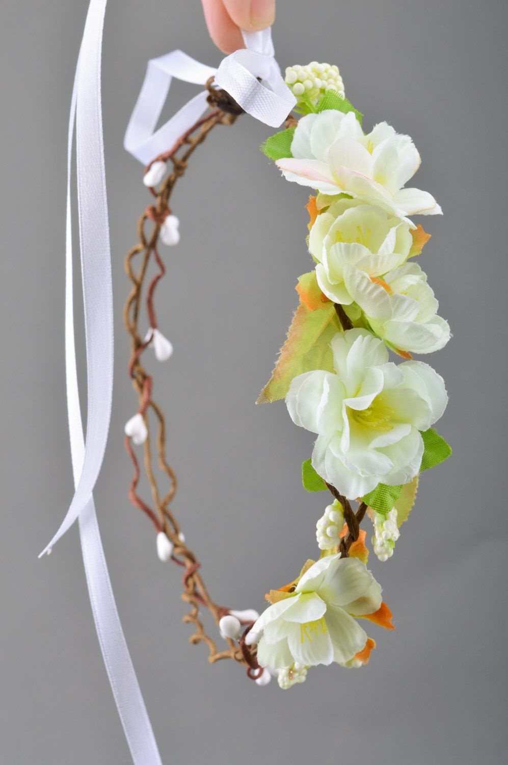 headbands and wreaths Tender homemade headband with artificial white  flowers Cherry Blossom - MADEheart.com 94eb0c6be36