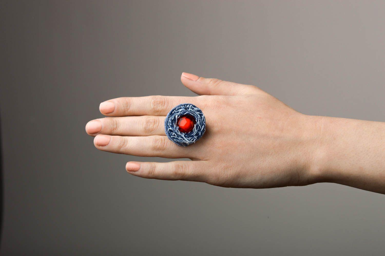 anillos con flores Anillo hecho a mano de tela vaquera bisutería artesanal regalo original , MADEheart
