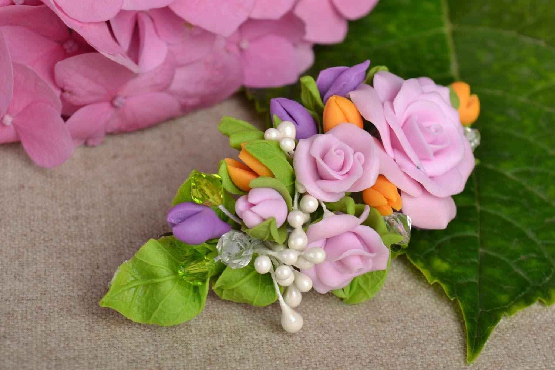 Haarspange Blume handmade Damen Modeschmuck Accessoire für Haare bunt schön foto 1