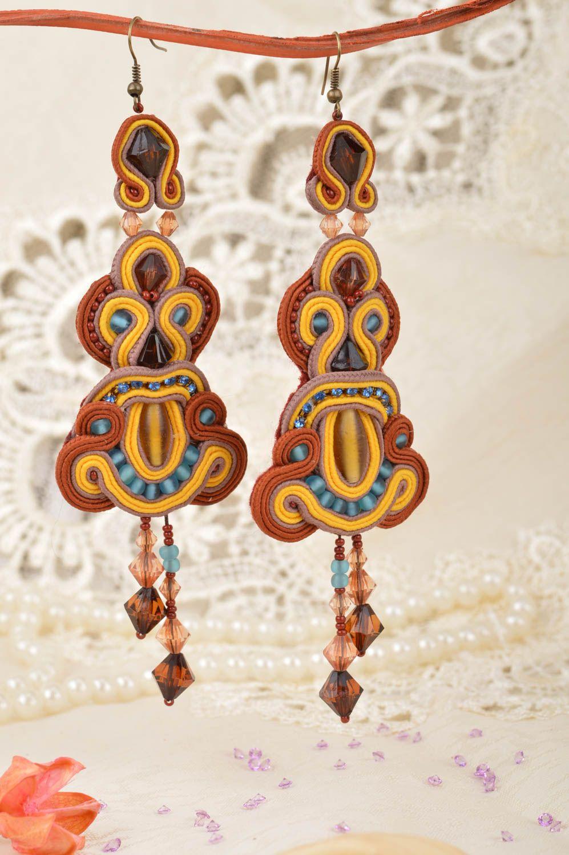 Handmade long dangle soutache earrings brown and yellow designer jewelry photo 1