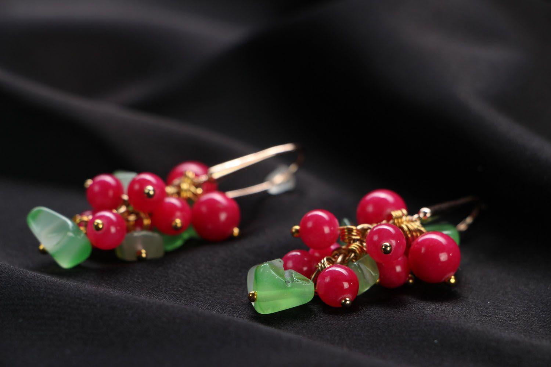 Handmade earrings with natural stones Berries photo 2