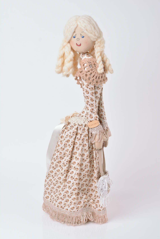Designer decorative linen doll on stand handmade home decor present for children photo 1