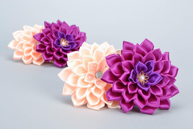 Цветочки из лент фото
