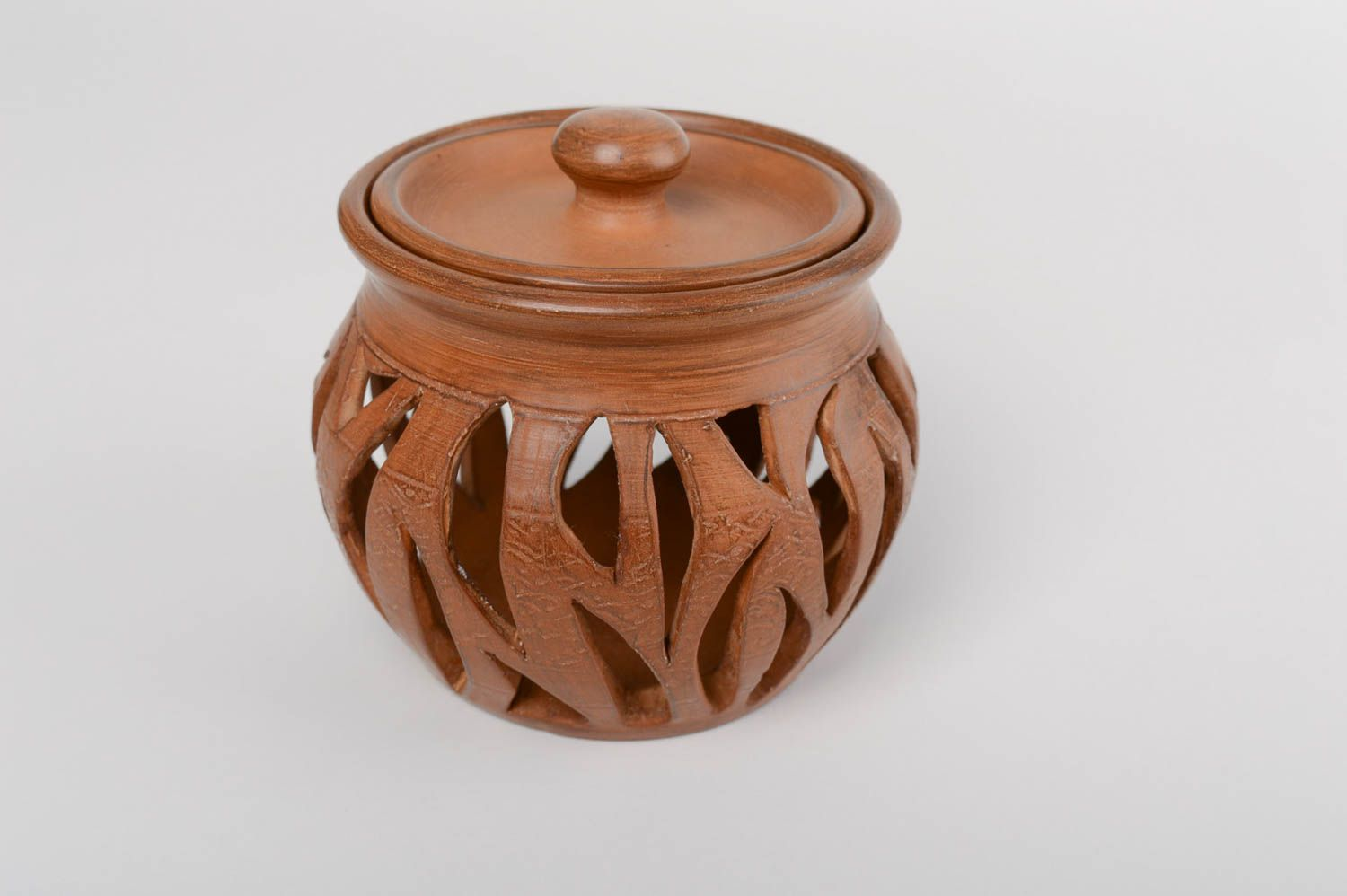 Brown handmade designer large terracotta clay aroma lamp with lid photo 2