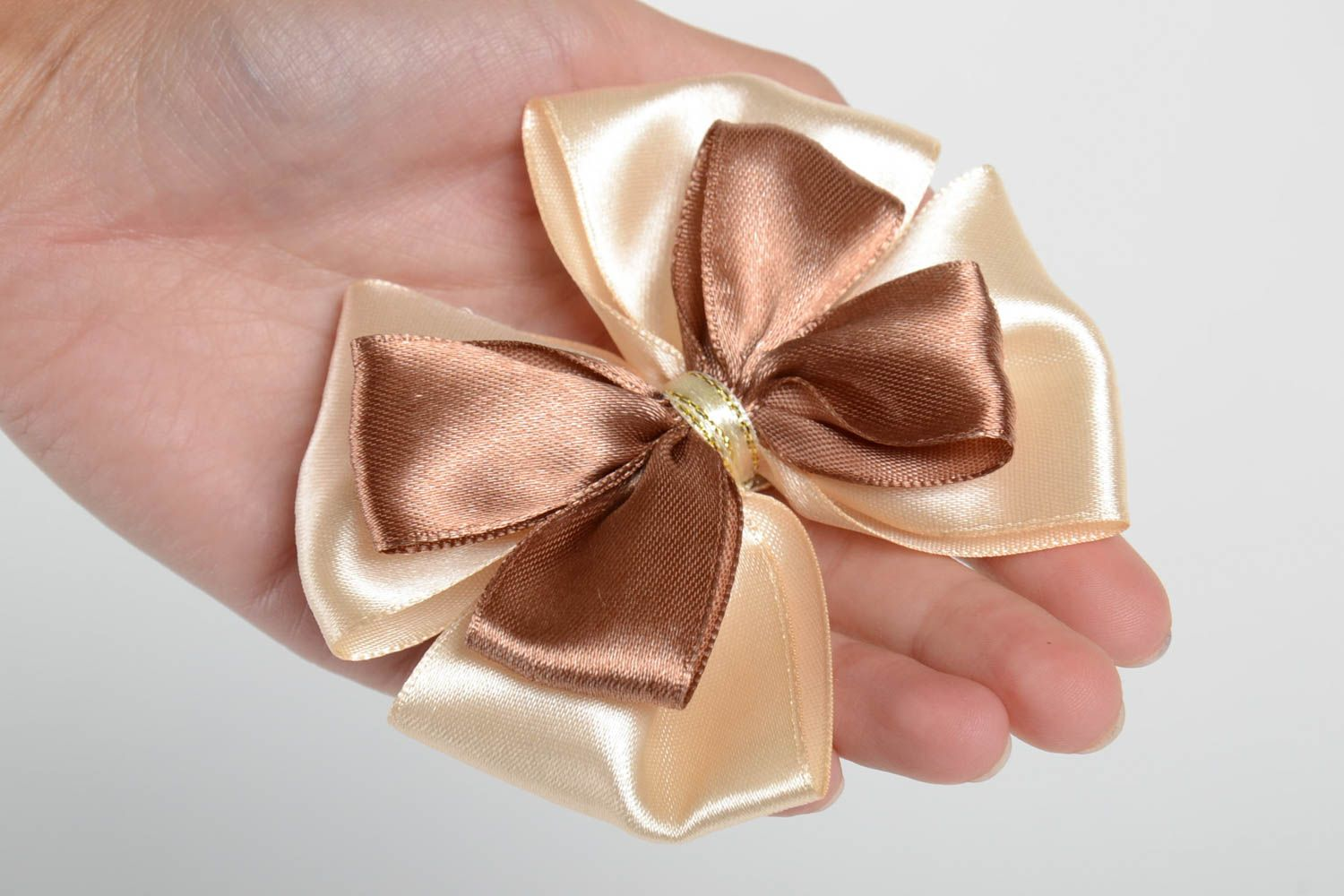 Handmade unusual hair clip accessory in shape of bow stylish satin hair clip photo 5