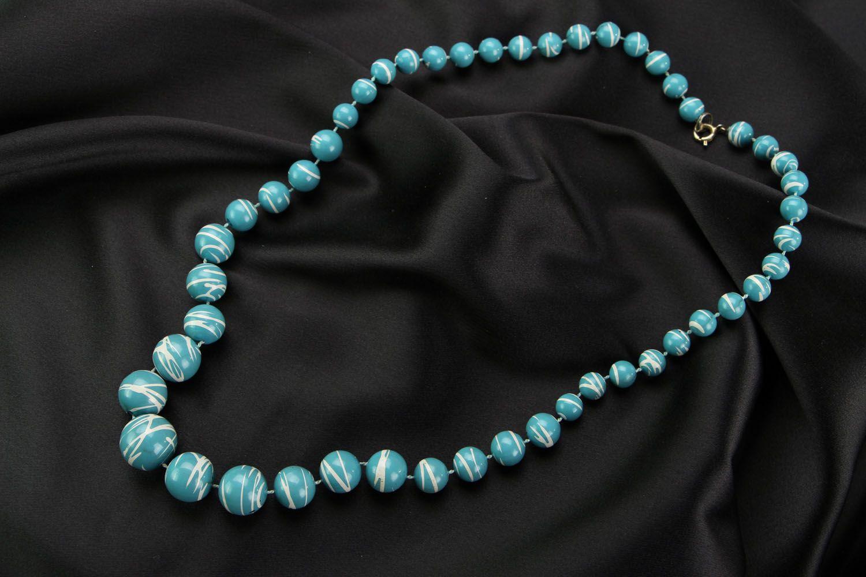 Blue bead necklace photo 1