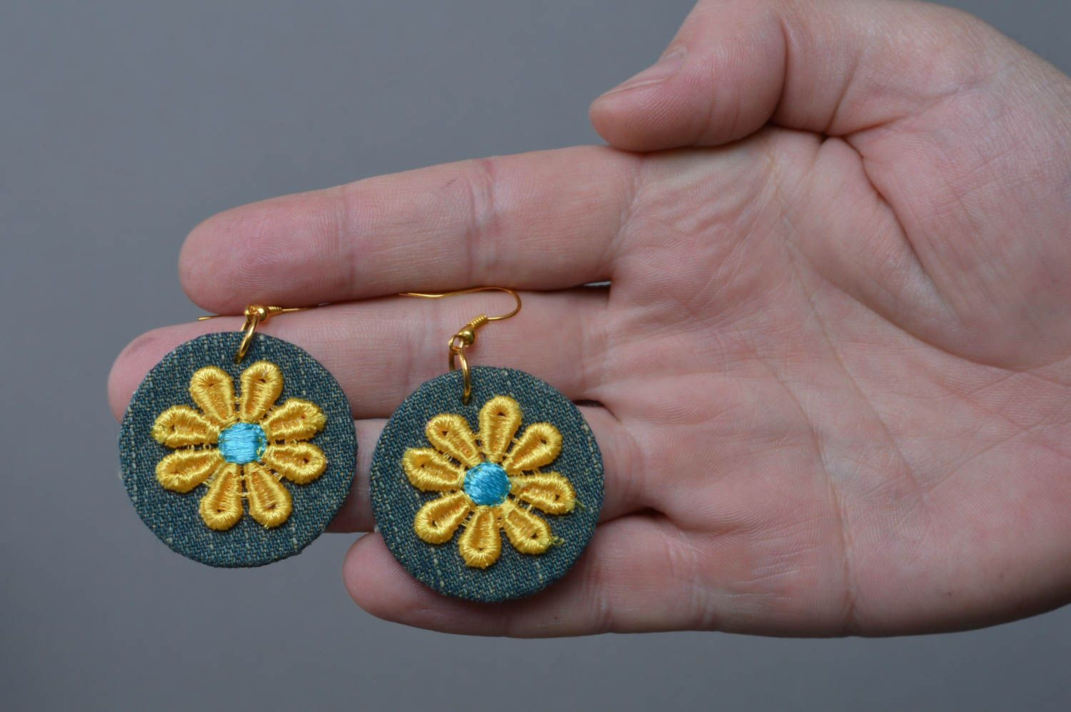 Beautiful small handmade designer fabric round earrings with applique photo 4
