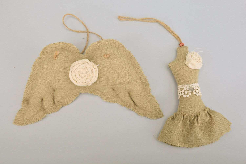 Handmade wall hanging linen sachet pillows Dress and Wings set of 2 items  photo 2