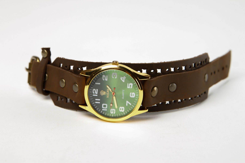 Handmade leather bracelet stylish watch on wristlets unusual designer jewelry photo 3