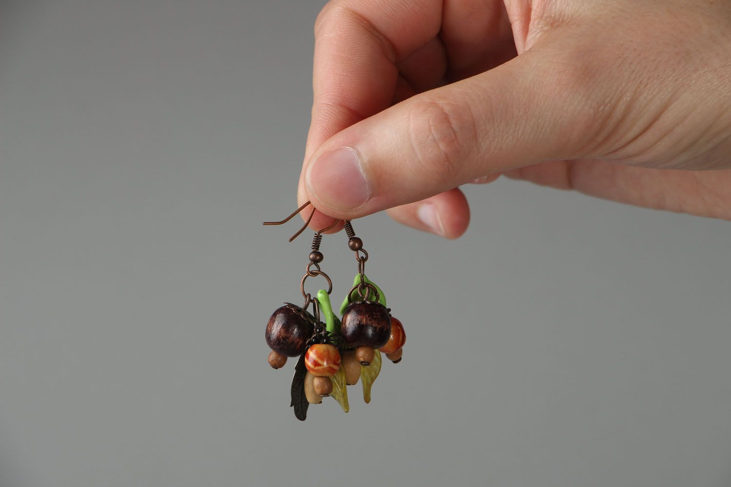 Earrings with wooden beads photo 3