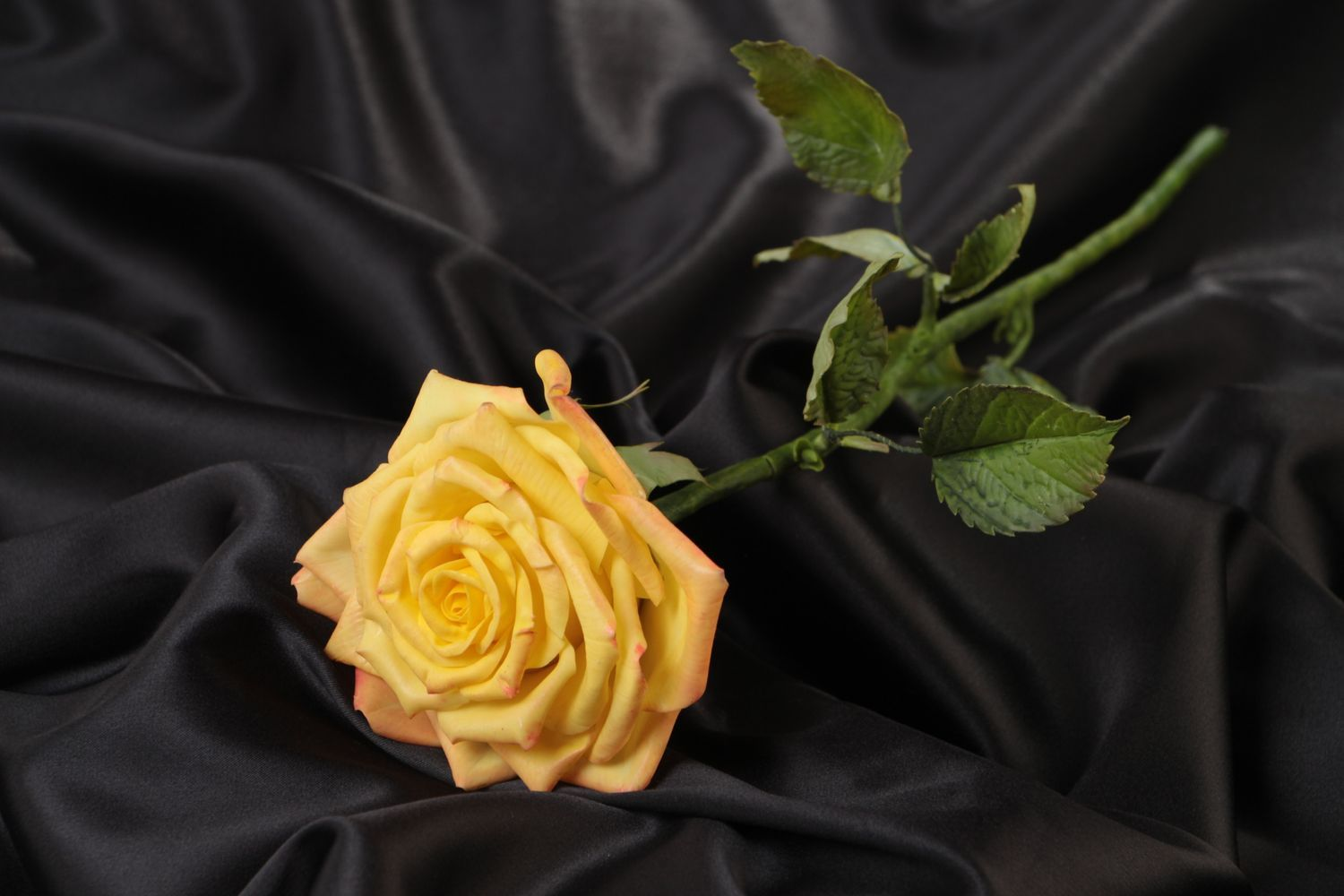 Beautiful handmade molded polymer clay flower painted with oils Rose photo 1
