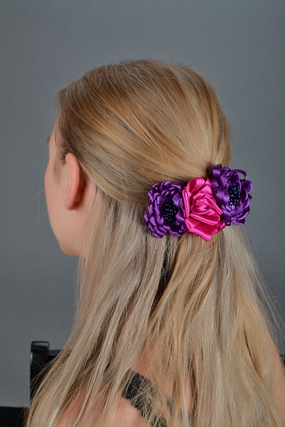 Bright flower hair clip Fuchsia photo 1