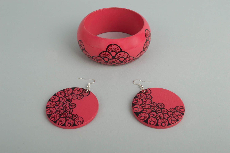Handmade jewelry set dangling earrings womens bracelet wooden accessories photo 2