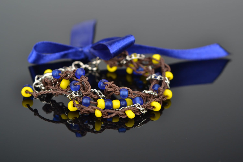 Wrist bracelet with satin ribbons photo 1