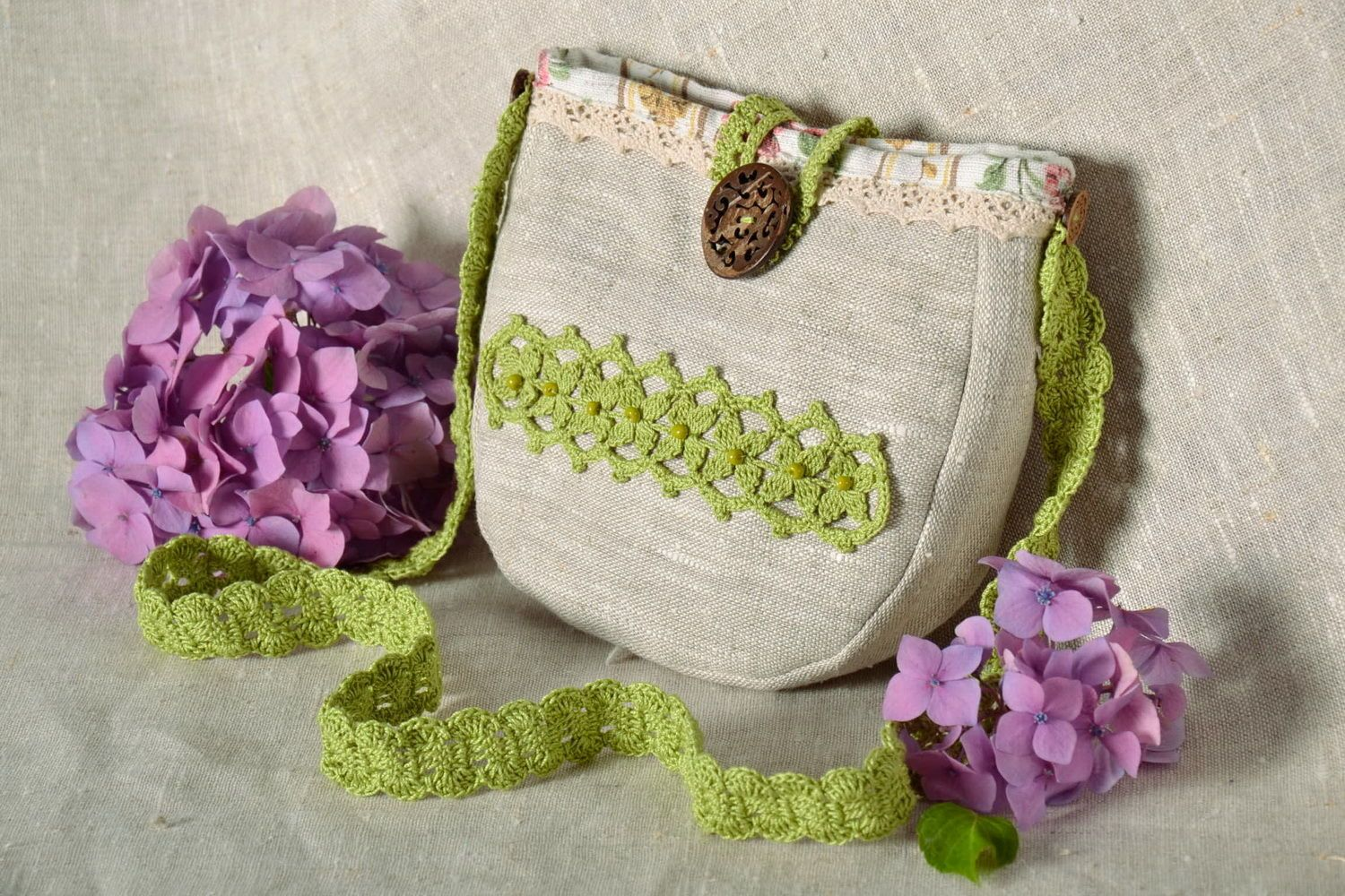 Bag made from flax and cotton  photo 1