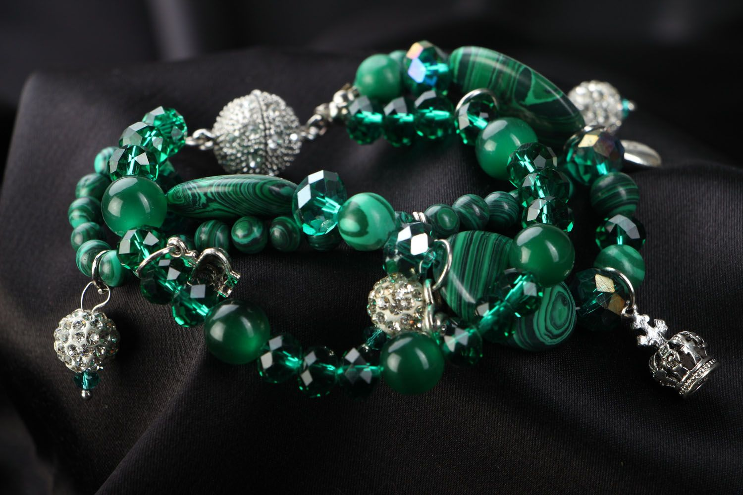 Wrist bracelet with natural stones Malachite photo 3